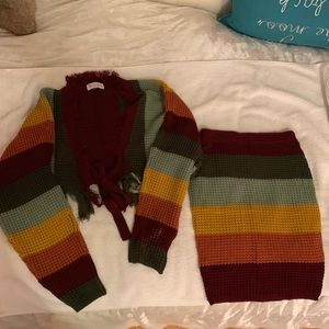 L'atiste striped tie sweater skirt set